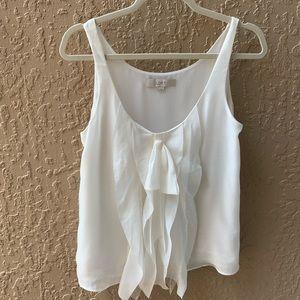 💚Loft White Ruffle Work Blouse - size small